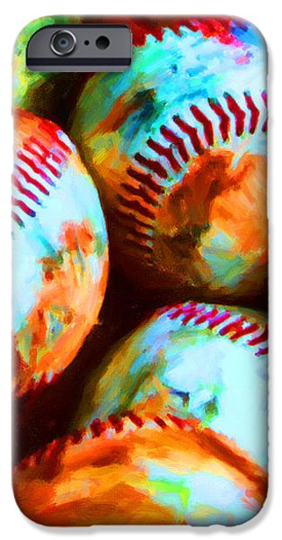 All American Pastime - Pile of Baseballs - Painterly iPhone Case by Wingsdomain Art and Photography