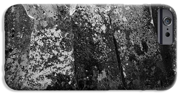 Headstones iPhone Cases - All in a Row at Fuerty Cemetery Roscommon Ireland iPhone Case by Teresa Mucha