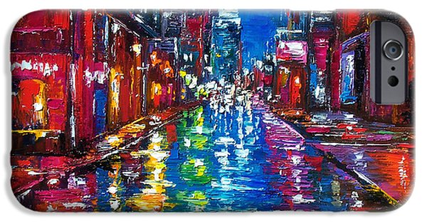 Texture Paintings iPhone Cases - All Night Long iPhone Case by Debra Hurd