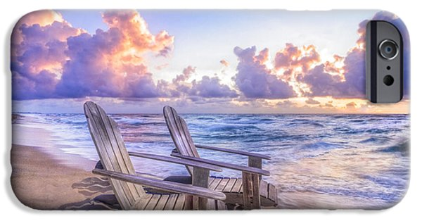 Adirondack Chairs On The Beach iPhone Cases - All Summer Long iPhone Case by Debra and Dave Vanderlaan