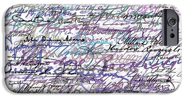 President Obama iPhone Cases - All The Presidents Signatures Blue Rose iPhone Case by Tony Rubino