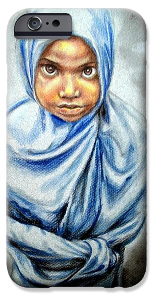 Young Paintings iPhone Cases - All wrapped up iPhone Case by Em Scott