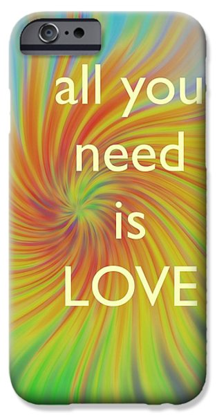 Women Together Digital iPhone Cases - All you Need is Love Twirl iPhone Case by Terry DeLuco