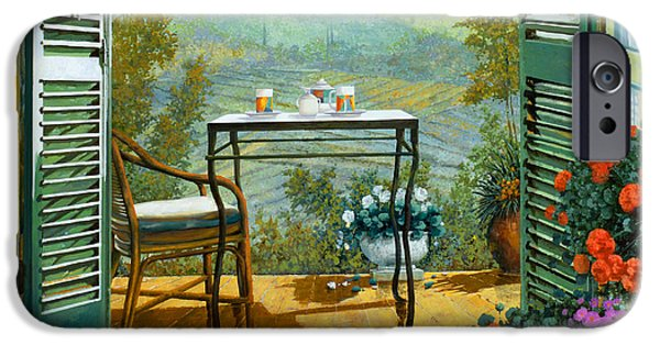 Wine Glasses Paintings iPhone Cases - Alle Dieci Del Mattino iPhone Case by Guido Borelli