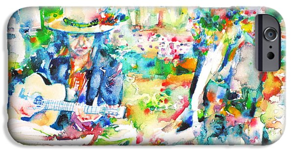 Bob Dylan Paintings iPhone Cases - ALLEN GINSBERG and BOB DYLAN - watercolor portrait iPhone Case by Fabrizio Cassetta