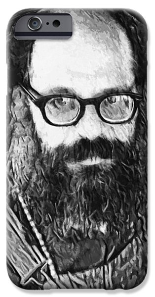 1950s Portraits Digital iPhone Cases - Allen Ginsberg iPhone Case by Taylan Soyturk