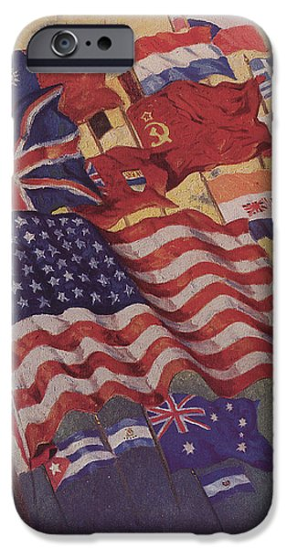 Flag Drawings iPhone Cases - Allied Flags - World War II  iPhone Case by American School