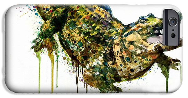 Reptiles Digital iPhone Cases - Alligator watercolor painting iPhone Case by Marian Voicu