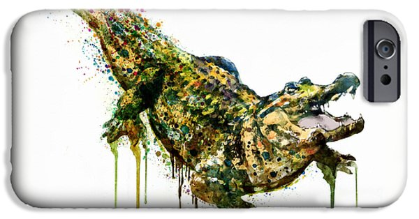 Alligator iPhone Cases - Alligator watercolor painting iPhone Case by Marian Voicu