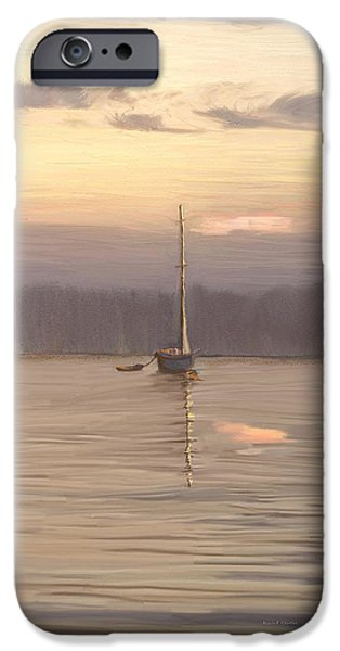 Pastel iPhone Cases - Almost Daytime on the Waters iPhone Case by Angela A Stanton