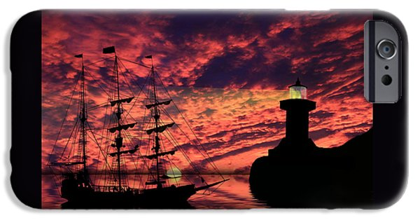 Lighthouse Mixed Media iPhone Cases - Almost Home iPhone Case by Shane Bechler