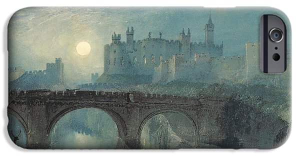 Nature Study Paintings iPhone Cases - Alnwick Castle iPhone Case by William Turner