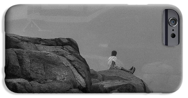 Nubble Lighthouse iPhone Cases - Alone at Nubble Light iPhone Case by Joe Far Photos