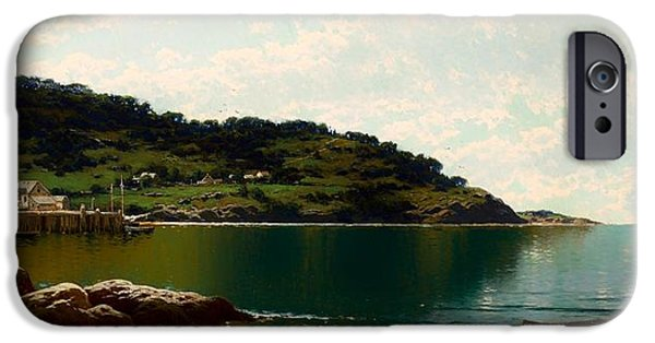 Maine Landscapes Paintings iPhone Cases - Along The Maine Coast iPhone Case by Alfred Thompson Bricher