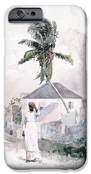 Winslow Homer iPhone Cases - Along the Road   Bahamas 1885 iPhone Case by Winslow Homer