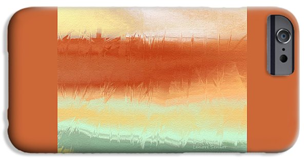 Abstract Digital Paintings iPhone Cases - Along the Side of the Highway iPhone Case by Lenore Senior