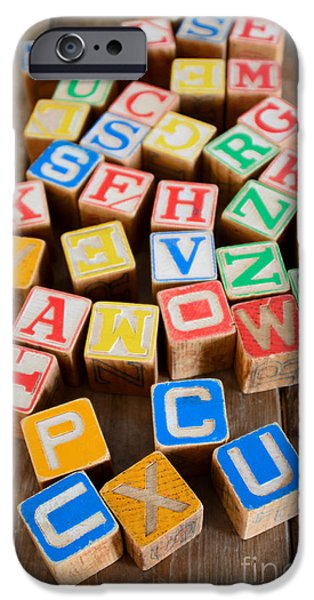 Alphabet Learning iPhone Cases - Alphabet Blocks iPhone Case by Jennifer Booher