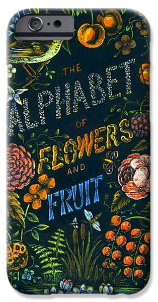 Book Pastels iPhone Cases - Alphabet of Flowers iPhone Case by Antique Art