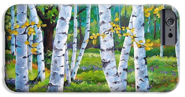 Canadiens Paintings iPhone Cases - Alpine flowers and birches  iPhone Case by Richard T Pranke