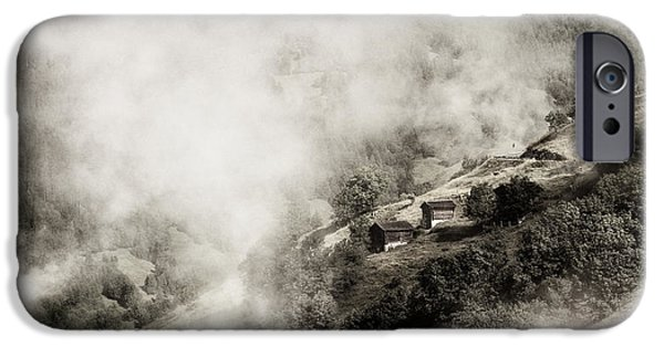 Morning iPhone Cases - Alpine Mountain village in morning mist iPhone Case by Peter v Quenter