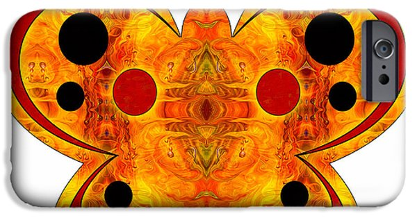 Red Abstract Glass iPhone Cases - Alternate Realities And Abstract Butterflies by Omashte iPhone Case by Omaste Witkowski