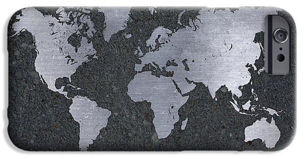 Aluminum iPhone Cases - Aluminum Map of the World on Concrete Slab iPhone Case by Design Turnpike