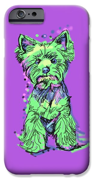 Yorkshire Terrier Watercolor iPhone Cases - Always Keep Your Yorkie Around You iPhone Case by LaLanny