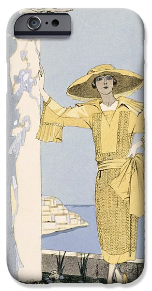 Woman In A Dress iPhone Cases - Amalfi iPhone Case by Georges Barbier