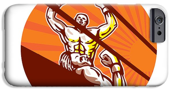 Boxer Digital iPhone Cases - Amateur Boxer Winning Circle Cartoon iPhone Case by Aloysius Patrimonio