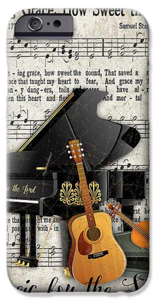 Piano iPhone Cases - Amazing Grace-JP3513 iPhone Case by Jean Plout