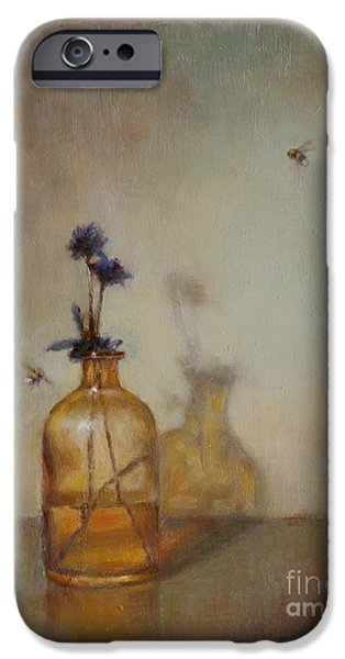 Bee iPhone Cases - Amber Bottle and Bees  iPhone Case by Lori  McNee