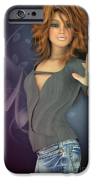 3d Graphic iPhone Cases - Amelie in Jeans iPhone Case by Jutta Maria Pusl