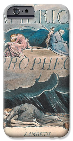 William Blake Drawings iPhone Cases - America. A Prophecy. Plate 2 iPhone Case by William Blake