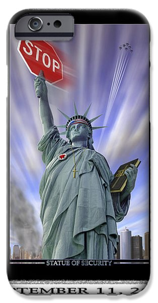 Twin Towers iPhone Cases - America On Alert II iPhone Case by Mike McGlothlen