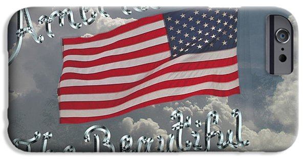 Waving Flag Mixed Media iPhone Cases - America The Beautiful iPhone Case by Kevin Caudill