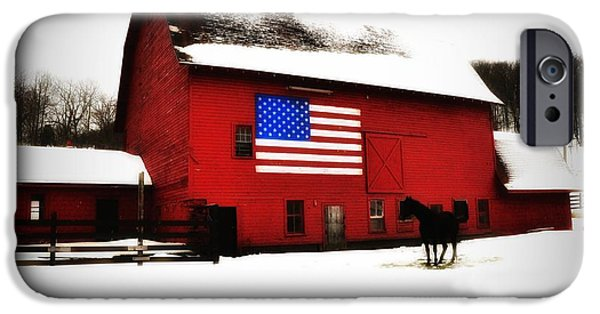 American Flag iPhone Cases - American Barn iPhone Case by Bill Cannon