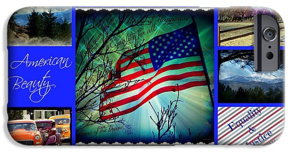 Fireworks iPhone Cases - American Beauty Collage iPhone Case by Bobbee Rickard