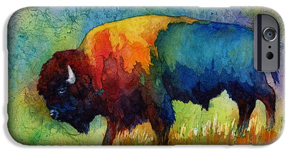 Paintings iPhone Cases - American Buffalo III iPhone Case by Hailey E Herrera
