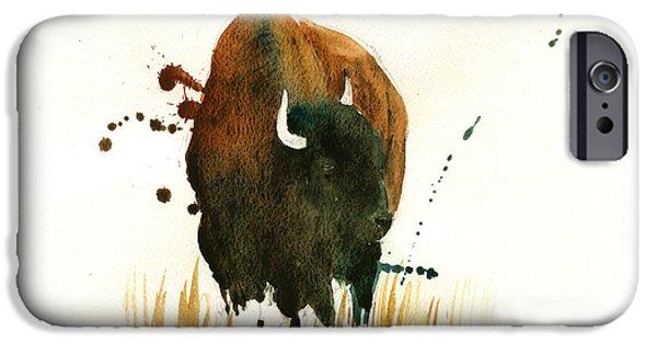 Original Watercolor iPhone Cases - American Buffalo painting iPhone Case by Juan  Bosco