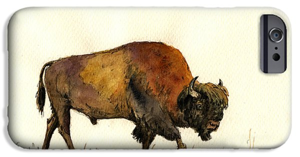 American Bison iPhone Cases - American buffalo watercolor iPhone Case by Juan  Bosco