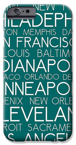 Philadelphia Paintings iPhone Cases - American Cities in Bus Roll Destination Map Style Poster - Green iPhone Case by Celestial Images