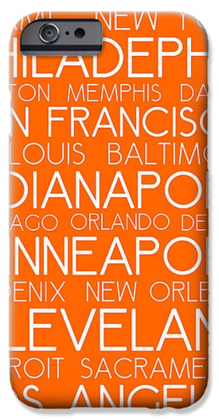 Charlotte iPhone Cases - American Cities in Bus Roll Destination Map Style Poster - Orange iPhone Case by Adam Asar