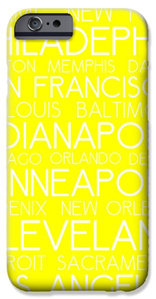 Bus In San Francisco iPhone Cases - American Cities in Bus Roll Destination Map Style Poster - Yellow iPhone Case by Celestial Images