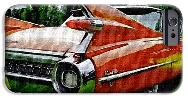 Business Pastels iPhone Cases - American Dream Cars Catus 1 no.3 -Cadillac Sedan Late 1950s H A iPhone Case by Gert J Rheeders