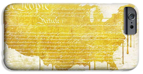 Constitution iPhone Cases - Gold American Map Constitution iPhone Case by Mindy Sommers