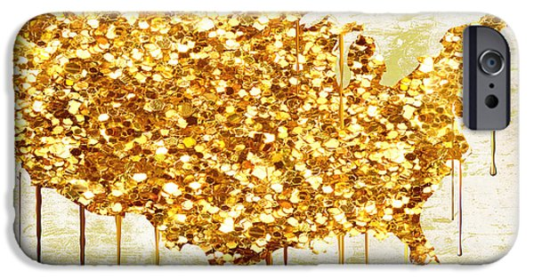 Maps Paintings iPhone Cases - Glitter Gold American Map iPhone Case by Mindy Sommers