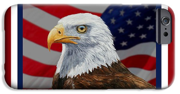 4th July Paintings iPhone Cases - American Eagle Phone Case iPhone Case by Crista Forest