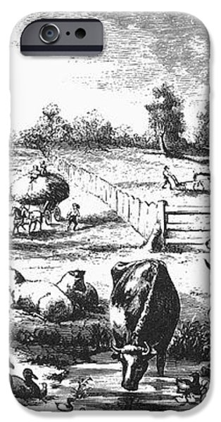 AMERICAN FARMYARD, c1870 iPhone Case by Granger