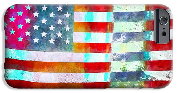 Diversity iPhone Cases - American Flag iPhone Case by Edward Fielding