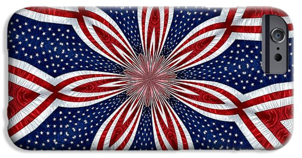 July 4th iPhone Cases - American Flag Kaleidoscope Abstract 1 iPhone Case by Rose Santuci-Sofranko